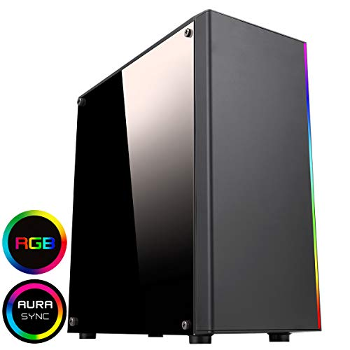 CiT 1002 ARGB PC Gaming Case, Mid-Tower, ATX, ARGB LED Strip, Aura Sync, Room for Four Fans, Water Cooling Ready, Build a Great Looking PC Case | Black