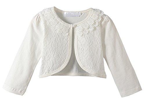 Guandiif Little Girls Long Sleeve Lace Cardigan Button Closure Bolero Cardigans Shrugs Dress Cover up Long White 3 Year(110) by Guandiif