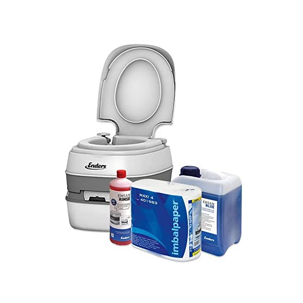Enders Campingtoilette Starter-Set Blue 2,5 Liter Comfort 4945 inkl. Sanitärflüssigkeit und WC Papier - Mobile…