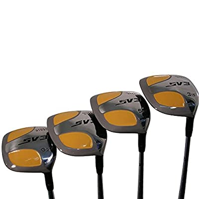 Senior Men's SV3 Yellow Square Fairway 3 5 7 9 Wood Set Golf Clubs, Right Handed Senior Flex with Men's Senior Size Black Pro Velvet Grips