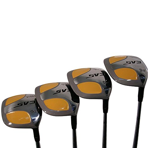 Senior Men's SV3 Yellow Square Fairway 3 5 7 9 Wood Set Golf Clubs, Right Handed Senior Flex with Men's Senior Size Black Pro Velvet Grips (Wood Graphite 9)