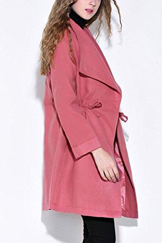 De Ceinture Tenue Femmes Trenchcoat D'hiver Pink Extérieur La Les Cols Solides Corset Oversize ZW4qgURc