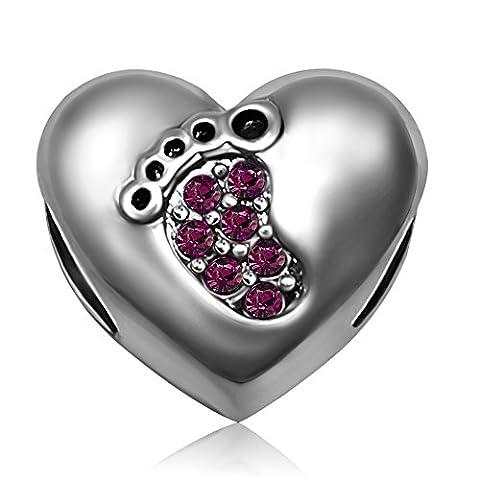 JMQJewelry Heart Baby Love Footprints Birthstone February Purple Charms for Bracelets - February Birthstone Charm