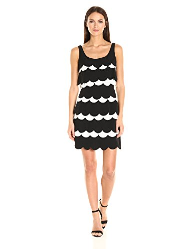 Julia Jordan Women's Sleeveless Scallop Shape Sheath, Black/White, 12 by Julia Jordan