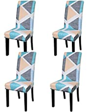 Stretch Chair Covers,Dining Room Chair Seat Cover,Spandex Short Dining Chair Protector Slipcovers for Home Ceremony,Banquet Wedding Chair Deco (Geometry 12, 4 Pack)