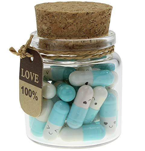 INFMETRY Capsule Letters Message in a Bottle Glass Favor Bottle (Light Blue 25pcs) (Glass Light Bottles Blue)