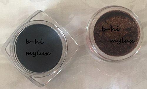 Silky Brown Shimmer Brow Bone Eyeshadow Dust Mineral Powder Pro Black Eye Liner + Brush