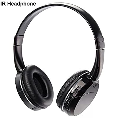 2 Channel IR headphones Infrared Wireless Headset for Car TV DVD Kids Size Black