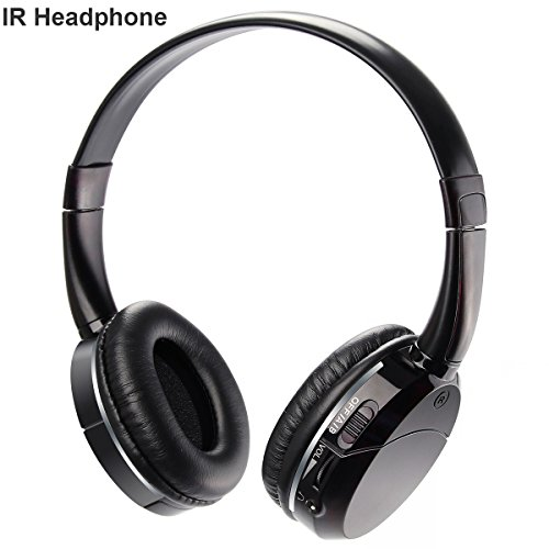 2 Channel IR Headphones Infrared Wireless Headset Car TV DVD Kids Size Black