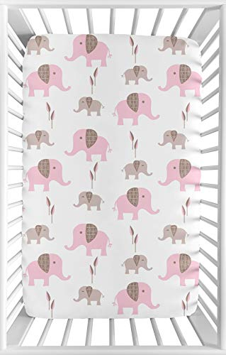 Sweet Jojo Designs Pink and White Baby Fitted Mini Portable Crib Sheet for Mod Elephant Collection