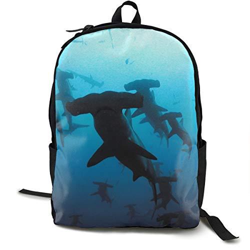 Hammerhead Sharks Rucksack With Side Pockets, Traveling & Camping Backpack Large Capacity School Shoulder Book Bags Multipurpose Anti-Theft Shoulder Bag
