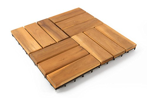 Thirteen Chefs Villa Acacia Interlocking Wood Deck Tiles and Pavers for Outdoor Patio and Floors - 12 x 12 Inch (Pack of 10) (12 Slat)