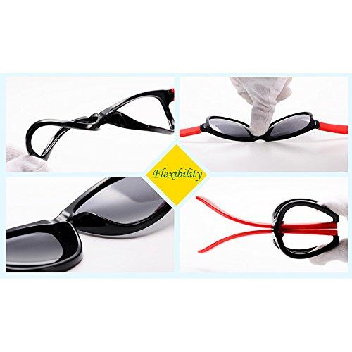 BOZEVON Unisexe Polarisées Lunettes de Soleil pour Enfants Garçons Filles Rectangle Monture en caoutchouc flexible Sport Lunettes Rouge/Blanc