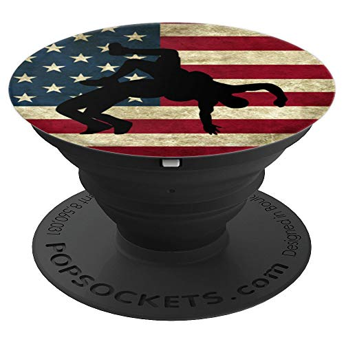 Wrestling Accessories USA American Flag Gift for a Wrestler - PopSockets Grip and Stand for Phones and Tablets