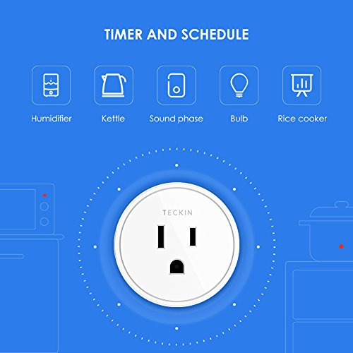 Smart Plug Compatible with SmartThings, Alexa Google Assistant for Voice Control, Teckin Mini Smart Outlet Wifi Socket…