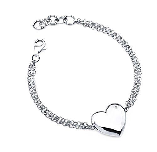 Diamond Accent Rolo Link Bracelet - Boston Bay Diamonds 925 Sterling Silver Diamond Accent Heart Adjustable Bracelet (6.5