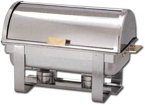 Winware 8 Qt Stainless Steel Roll-Top Chafer, Gold Accent