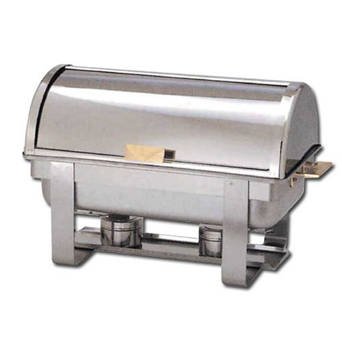 Winware 8 Qt Stainless Steel Roll-Top Chafer, Gold Accent by Winware