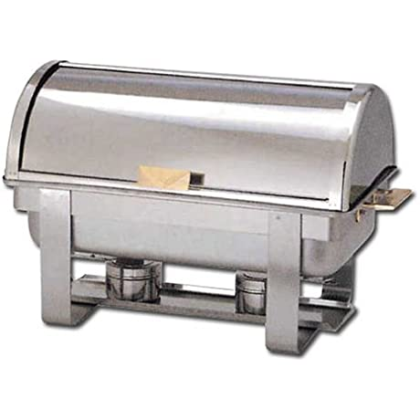 Winware 8 Qt Stainless Steel Roll Top Chafer Gold Accent