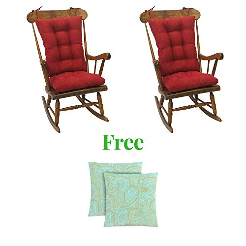 Klear Vu Twillo Overstuffed Rocking Chair Pad Set, Seat and Seatback Cushions, (2 Pack, Red)