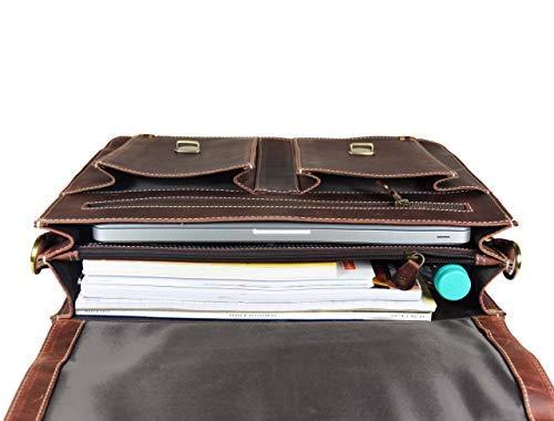 16'' Leather Briefcase Messenger Bag for Laptop by Aaron Leather (Walnut) by AARON LEATHER GOODS VENDIMIA ESTILO (Image #5)