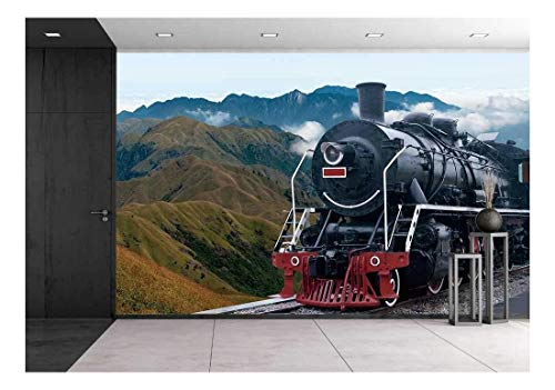 Train Mural - wall26 - Vintage Black Steam Powered Railway Train - Removable Wall Mural   Self-Adhesive Large Wallpaper - 100x144 inches