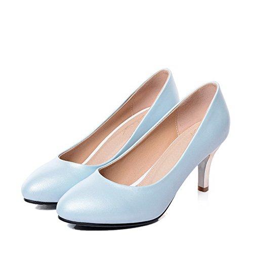 AllhqFashion Damen PU Leder Mittler Absatz Rund Rein Ziehen auf Pumps Schuhe Blau