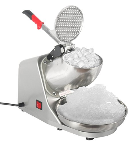 (JOO LIFE Electric Ice Shaver Machine, Snow Cone Maker Shaved Ice Machine, Ice Crushers Home Commercial Use Silver 143lbs/hr (300W))