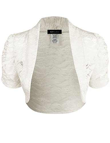 ELF FASHION Women Top Short Sleeve Floral Lace Shrug Open Front Bolero Cardigan (Size S~3XL) Ivory 2XL