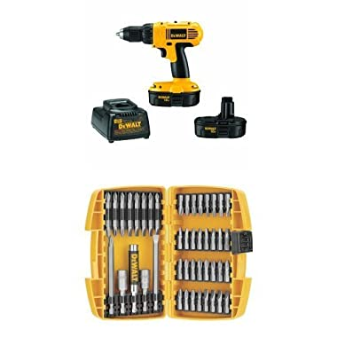 DEWALT DC970K-2 18-Volt Compact Drill/Driver Kit w/ DW2166 45-Piece Screwdriving Set