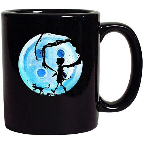 Coraline Blue Full Moon Nightmare Cat Halloween Horror Button Black Coffee Tea Hot Chocolate Mug Cup 11oz -