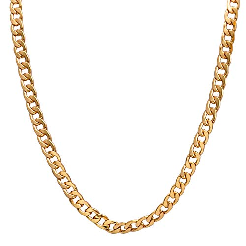 Men Gold Necklace Chain, Gold Plated Figaro Chain Link, Stainless Steel 8mm Wide Curb Hip Hop Chian Necklace 24Inch