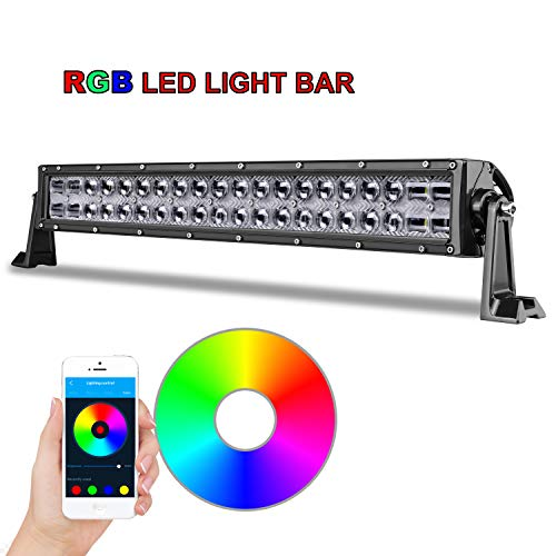 RGB LED Light Bar 20 inch, AKD Part Bluetooth Control CREE Offroad Light Bar with Wiring Harness 5D Color Changing Off Road Driving Light Flood Spot Combo Work Light For Jeep Truck ATV UTV SUV Marine ()
