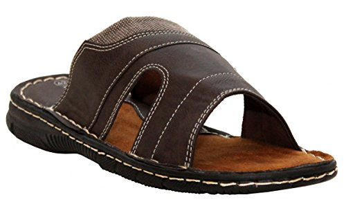 A&H Footwear Mens Gents Synthetic Leather Casual Slip On Summer Beach Mules Sandals Shoes UK Sizes 6-11 Brown