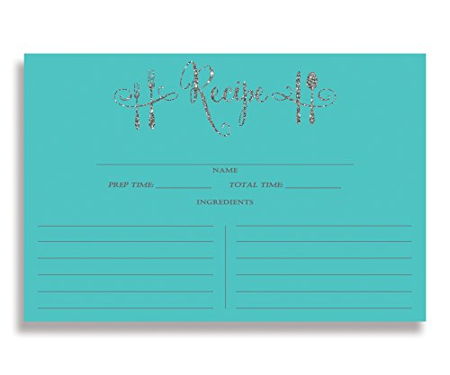 Tiffany Blue Recipe Cards ( Set of 15 ) 4x6 inches. Double Sided Thick Card Stock Elegant Turquoise Blue and Silver Glitter Calligraphy Recipe Cards | Mila - Tiffany And Blue Silver