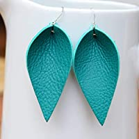 Genuine Leather & Sterling Silver Leaf Earrings // Turquoise Leather // Joanna Gaines Inspired