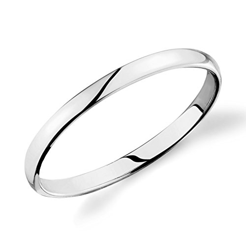 - 14k White Gold 2mm Plain Wedding Band Light Comfort Fit Ring