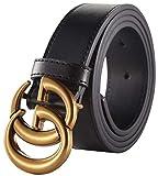 G Buckle Gold/Sivler x Black Leather Unisex Belt for Men or Women ~ 3.2cm Belt Width (95cm (Waist 27''~33'' or Below), Gold Buckle)