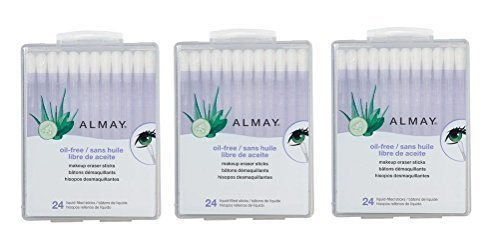 Almay Oil-Free Makeup Eraser Sticks, 24 Count (Pack of 3)
