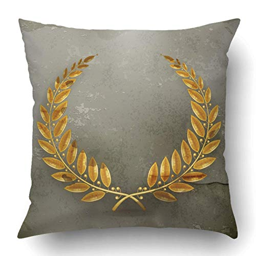dan ding Throw Pillow Covers Winner Laurel Wreath Gold Old Style Olympic Medal Leaf Award Trophy Sport Symbol Polyester 18 X 18 inch Square Hidden Zipper Decorative Pillowcase