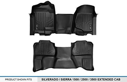 MAXLINER B0097 Floor Mats for Silverado//Sierra Extended Cab Black 2007-2014 2nd Row 2007-2013 HD Models