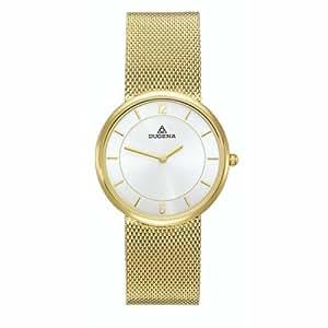 Dugena 4185927 - Reloj analógico de caballero de cuarzo con correa de acero inoxidable dorada - sumergible a 30 metros