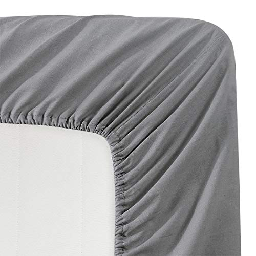 BASIC CHOICE Solid Color Microfiber Deep Pocket Fitted Sheet, Twin, Charcoal (Deep Fitted Sheets Twin)