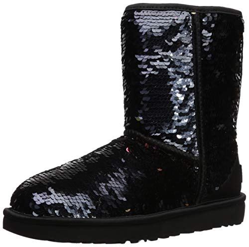 UGG Women's W Classic Short Sequin Fashion Boot, Black, 9 M US (Uggs Like Snow Boots)