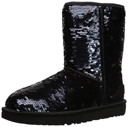 UGG Women's W Classic Short Sequin Fashion Boot, Black, 7 M US