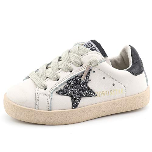 - Bakkotie Toddler Baby Boys and Girls Fashion White Sparkly Glitter Leather Retro Star Sneakers Shoes(FS2239-Black/DDWO-22)