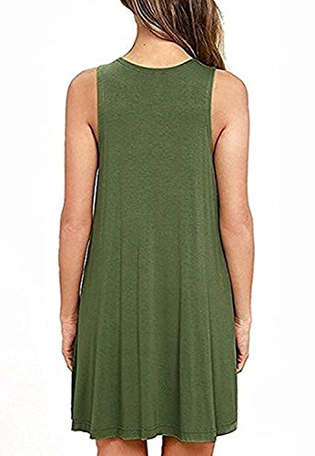 Sleeveless Green Flared Tank with shirt T Army Summer Dresses Women's Pockets Amstt HUxwFFO