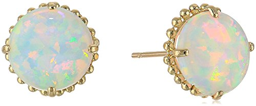 10k Beaded Yellow Gold Stud with Round Cut Simulated Opal Gemstone Stud -