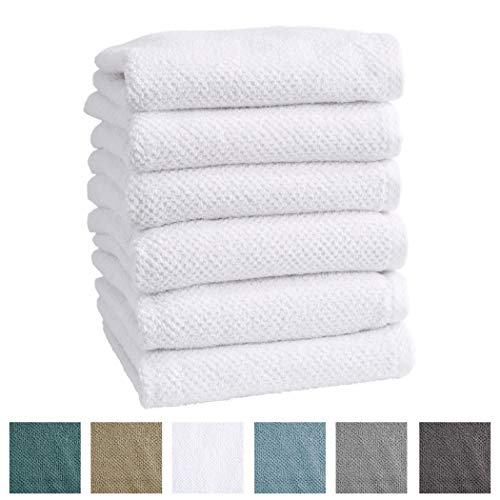 Great Bay Home 6-Pack 100% Cotton, Ultra-Absorbent Popcorn Hand Towels. 6 Elegant Solid Colors. Popcorn Weave. Acacia Collection. (Hand 6pk, Optic (Popcorn Collection)