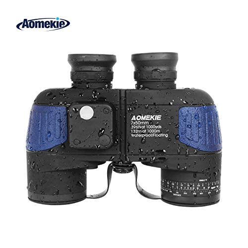 Aomekie Marine Binoculars Night Vision for Adults, 7X50 Military Binoculars Waterproof Fogproof with Compass Rangefinder BAK4 Prism Lens for Navigation Boating Fishing Water Sports Hunting (Army Blue)